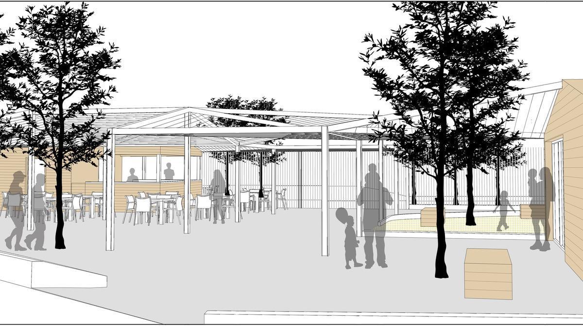 Imatge simulada del recinte de la piscina reformat