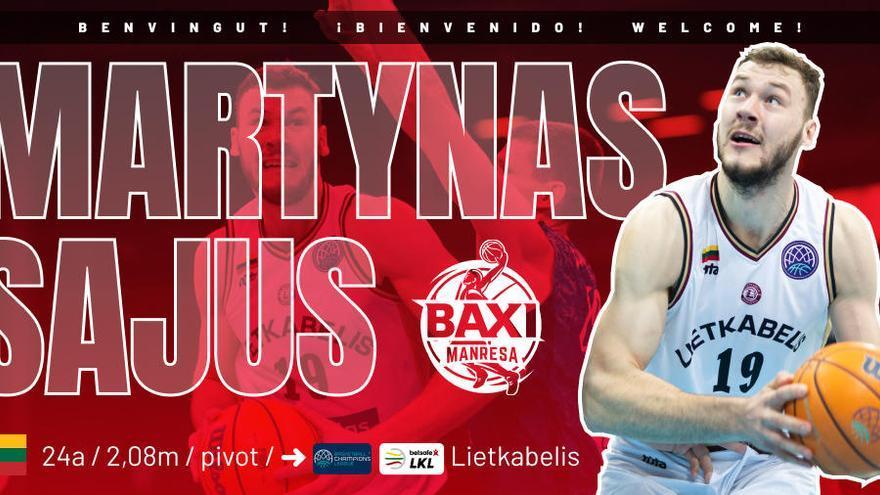 El BAXI Manresa fitxa a Martynas Sajus