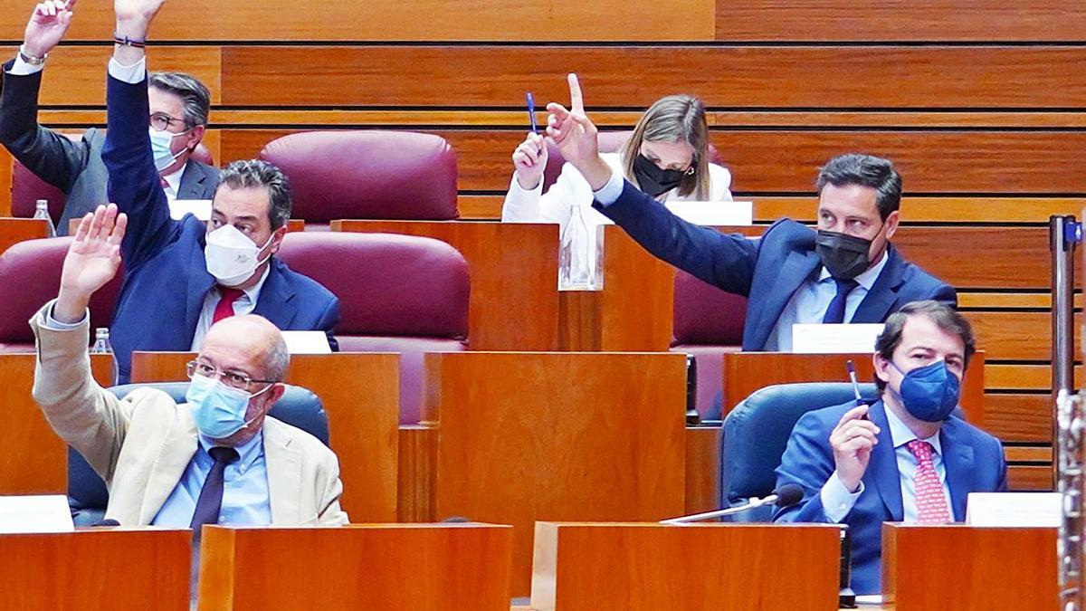 El vicepresidente Igea (i) y el presidente Mañueco, durante una de las votaciones celebradas ayer en las Cortes de Castilla y León.   M. Chacón - Ical