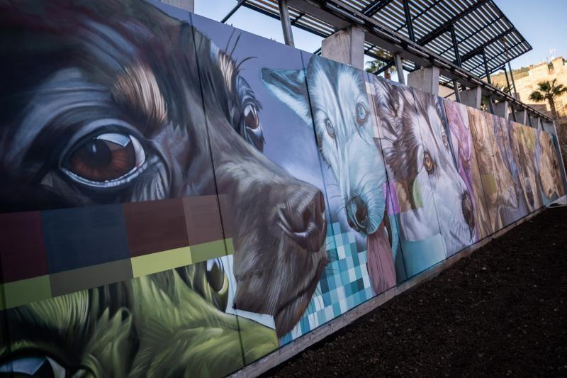 Mural alegórico en el parque canino de Las Indias