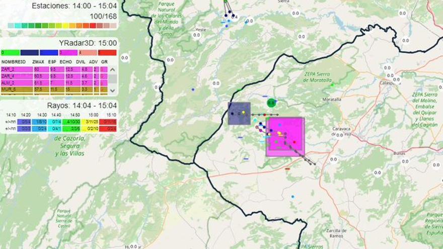 La Aemet alerta de tormentas con granizo este miércoles en el Noroeste de la Región