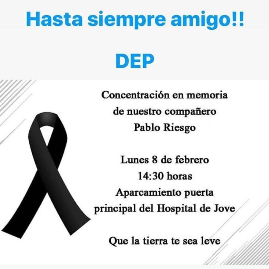 Mensaje en homenaje al sanitario Pablo Riesgo