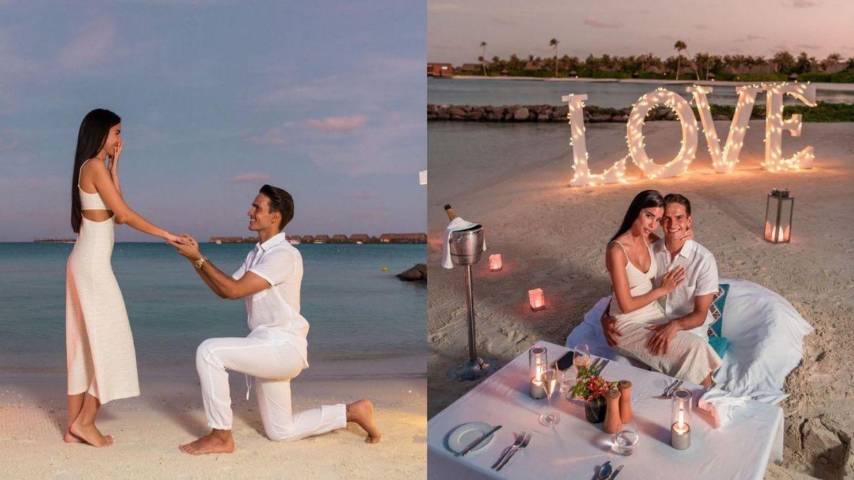 Denis Suárez y su pareja Nadia Avilés, durante la pedida de mano en Maldivas