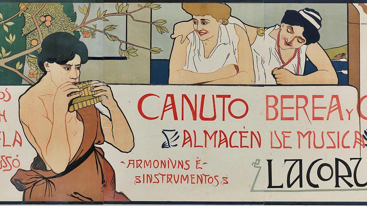 Cartel publicitario del almacén de música de Canuto Berea, datado entre 1895 y 1905.  | // BNE