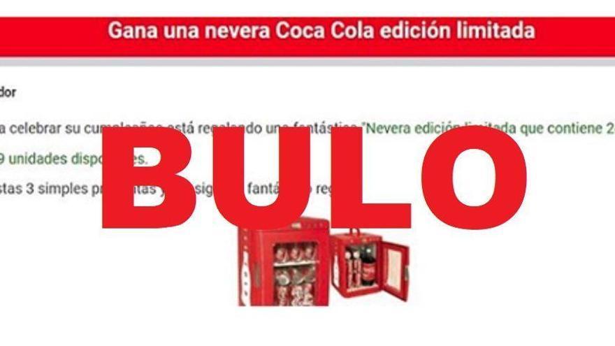 Bulo: No, Coca-cola no te va a regalar una nevera