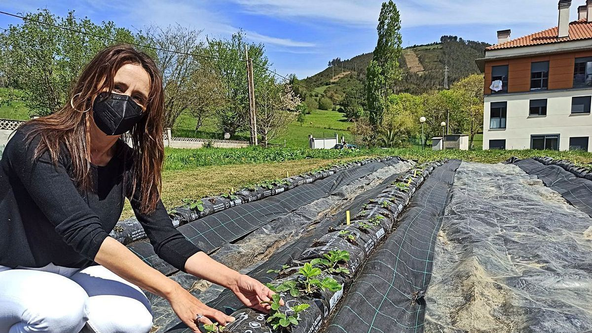La concejala Marta Menéndez, en el huerto municipal de Candamo. | S. Arias