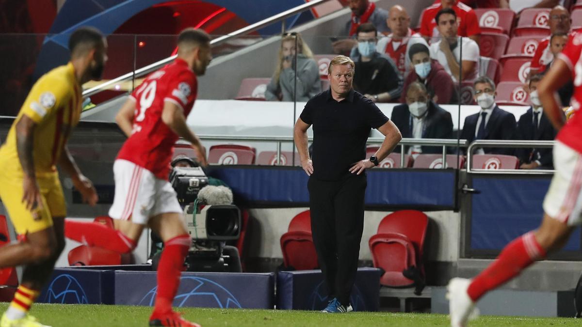 Ronald Koeman durante el encuentro ante el Benfica.