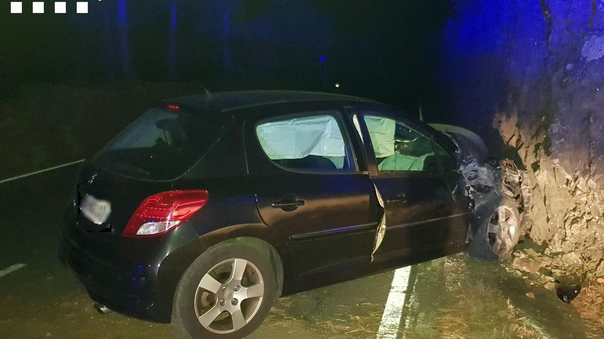 El morro del cotxe va acabar aixafat però els ocupants, il·lesos