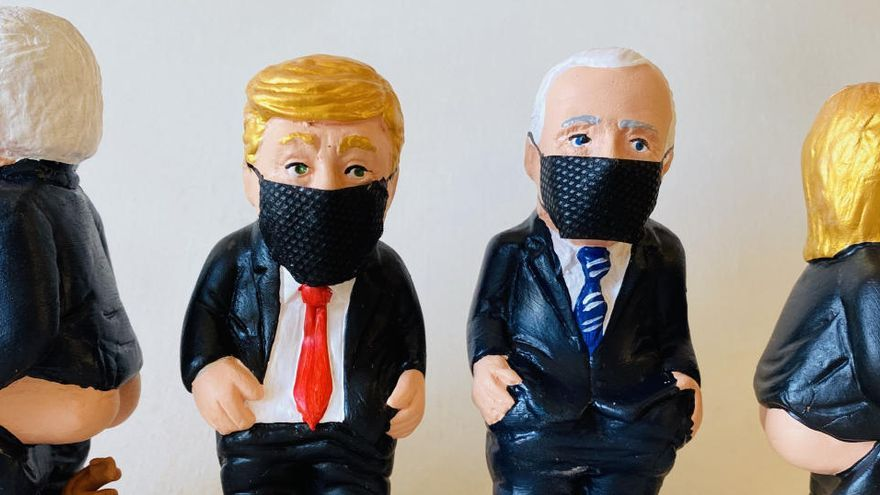 Biden i Trump amb mascareta, els nous models de caganer en plena campanya presidencial als Estats Units
