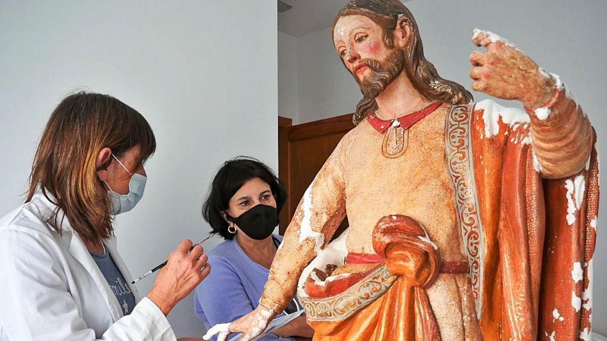 Restauran la talla de San José y El Niño de San Marcial de Rubicón