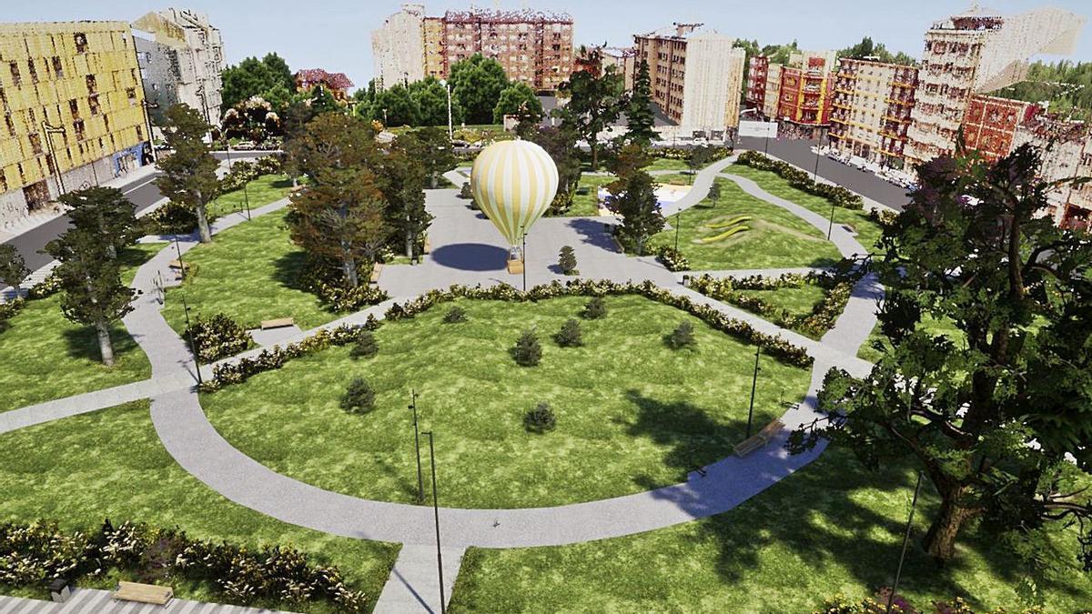 Recreación virtual del futuro parque de la Mayacina, en el centro de Mieres.