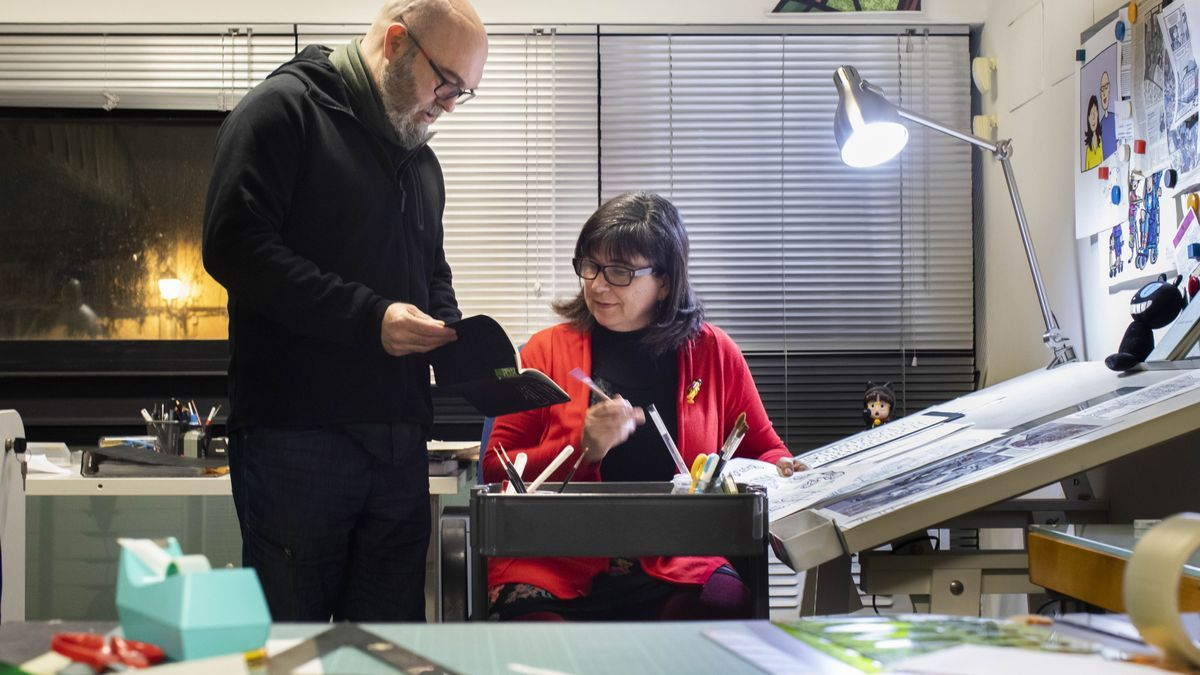 Cristina Durán en su estudio junto a Miguel Ángel Giner.