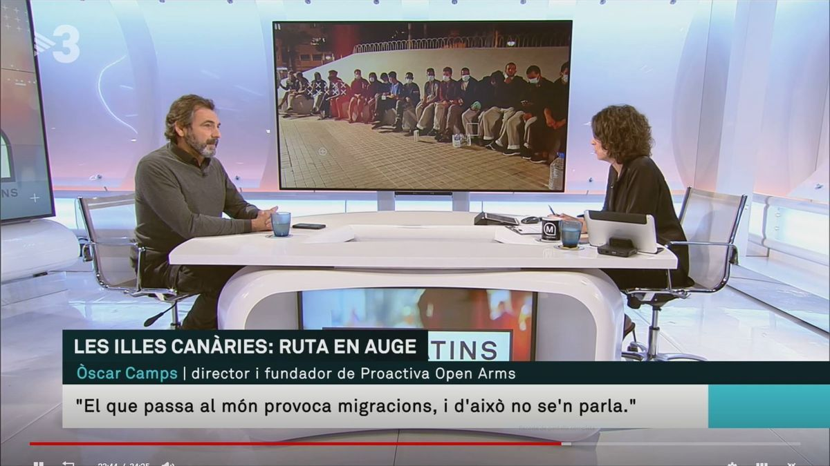 Un momento de la entrevista de Camps en la televisión catalana.