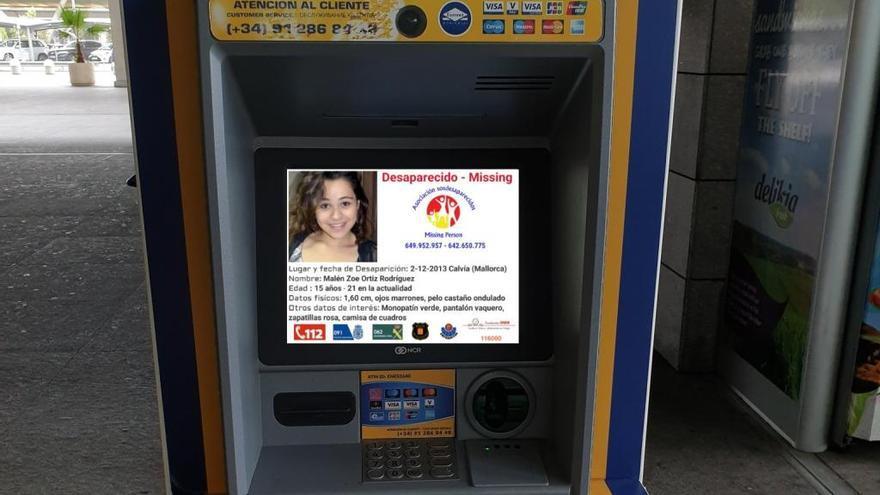 La imagen de Malén Ortiz, desaparecida en 2013, se muestra en 3.000 cajeros Euronet