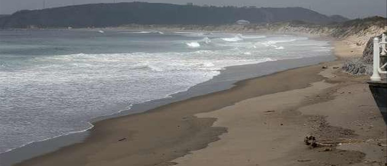 Playa de Salinas durante el confinamiento .