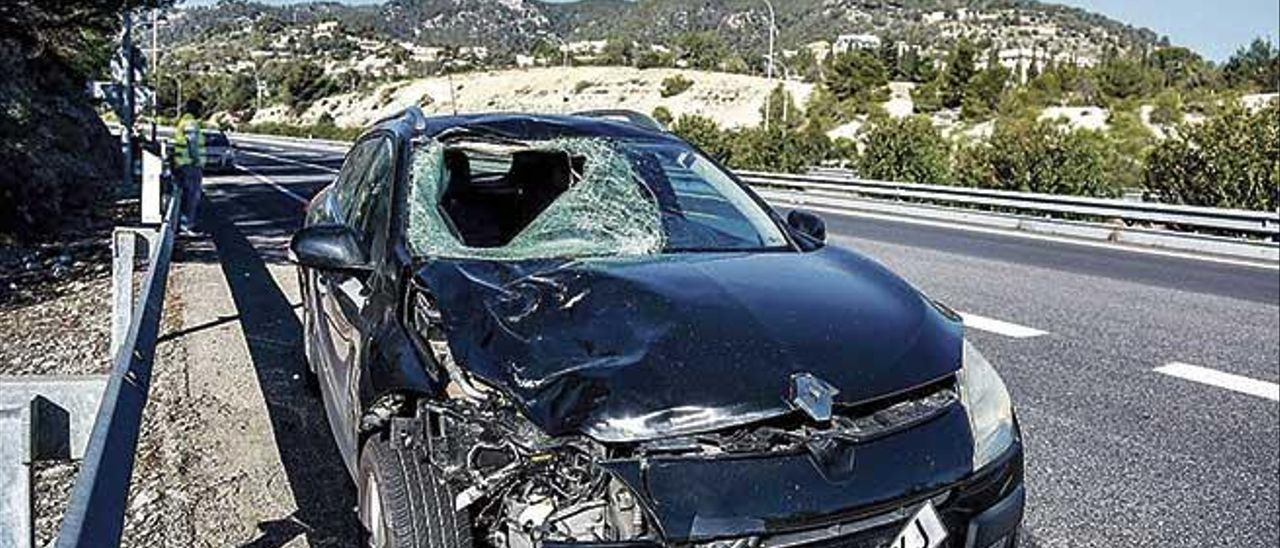 El coche que atropelló mortalmente a un hombre en febrero en la autopista de Andratx.