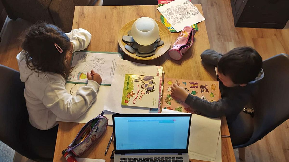 Sofía y Alejandro realizan sus tareas escolares, mientras su padre trabaja en el ordenador.