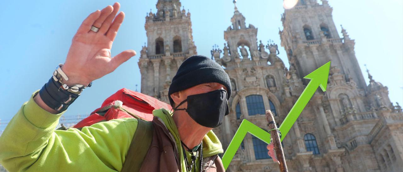 Un peregrino llegando al final del Camino de Santiago, uno de los potenciales turísticos de Galicia