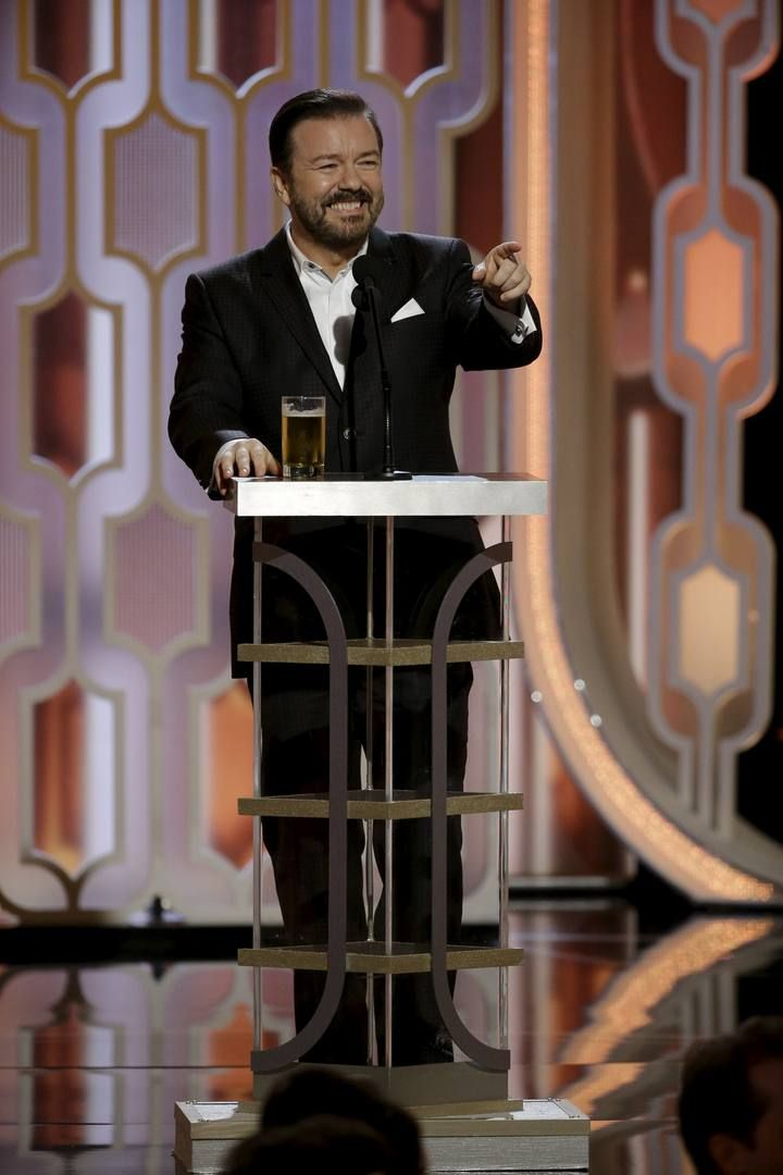 Gervais hosts the 73rd Golden Globe Awards in Beverly Hills