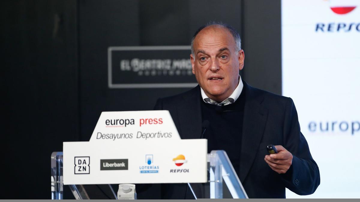 Javier Tebas, en los 'Desayunos Deportivos' de Europa Press.