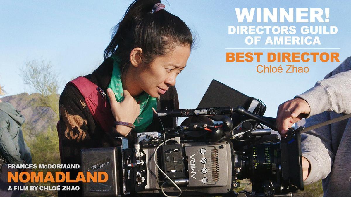 Chloe Zhao dirige 'Nomadland', con Frances McDormand como protagonista.