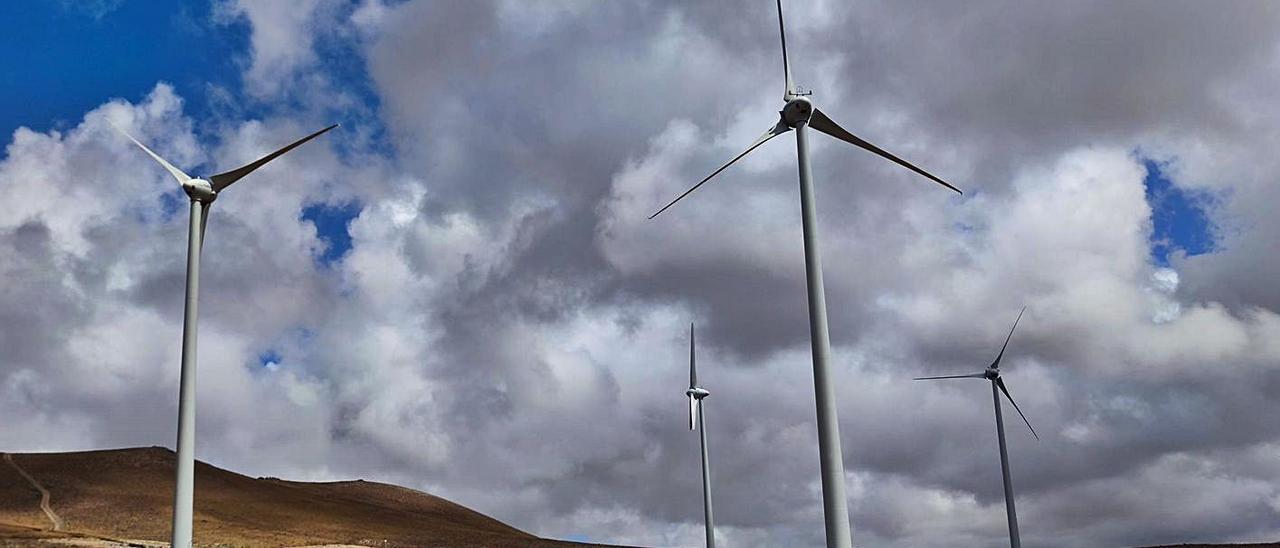 Los cuatro aerogeneradores del parque eólico Arrecife.     LP/DLP