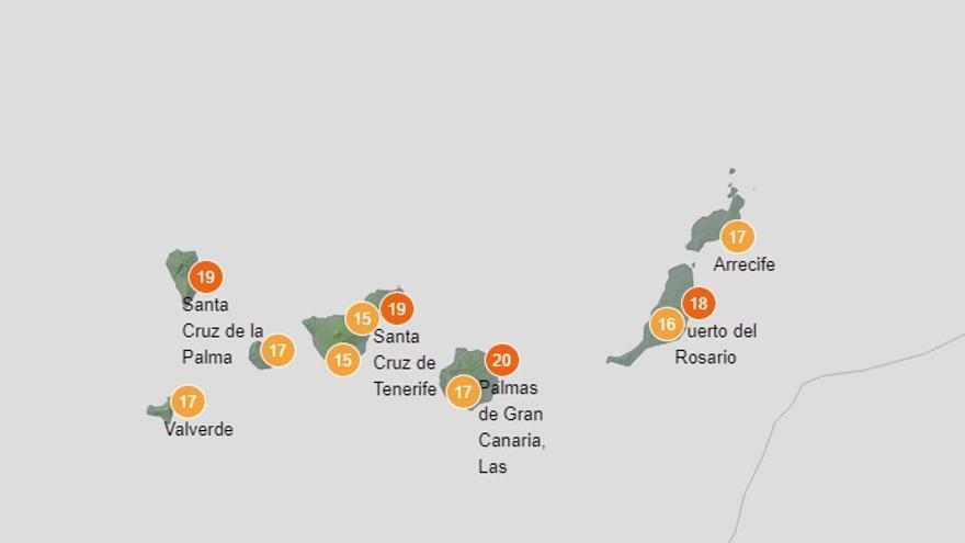 Descenso de temperaturas este jueves en Canarias