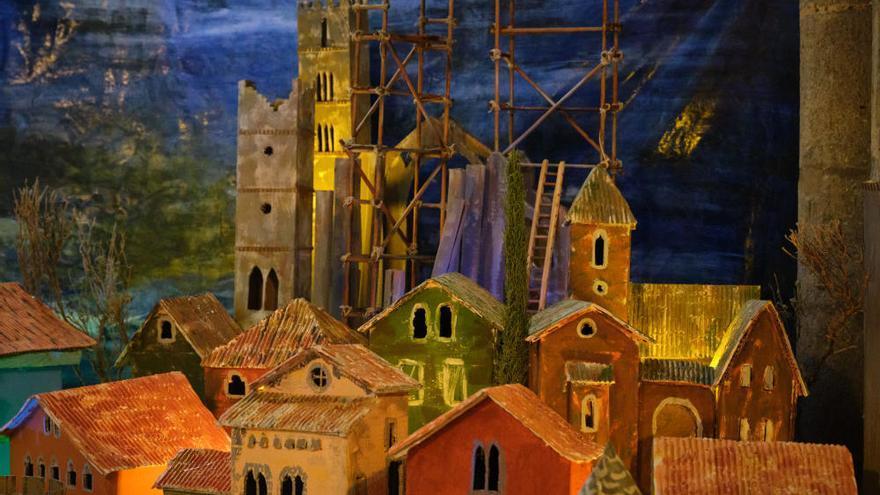 El pessebre de la Basílica recrea la construcció del Pont Vell i de la Catedral