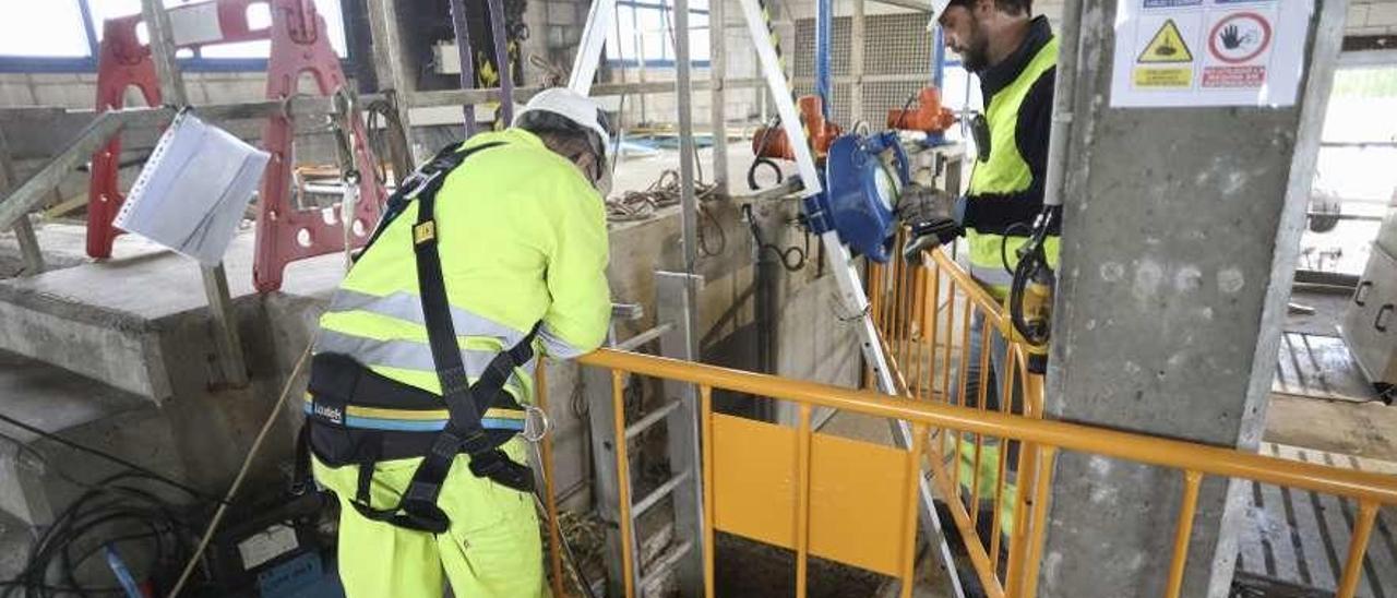Obras de sustitución de hormigones en el edificio de las cámaras de recirculación.