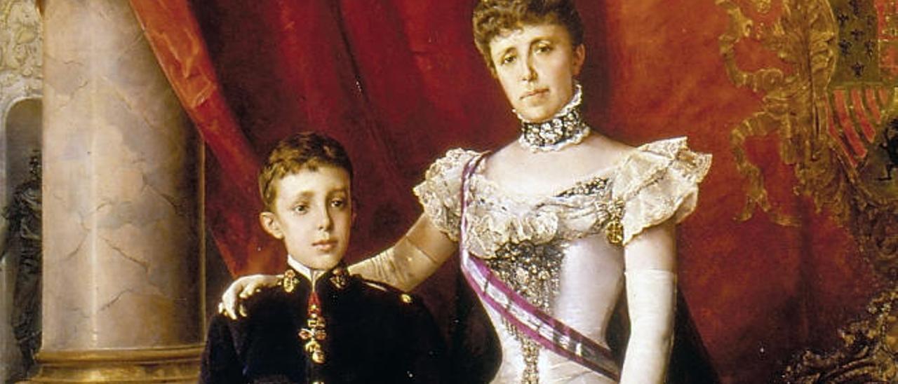 María Cristina de Habsburgo con su hijo Alfonso, en un retrato de 1898.