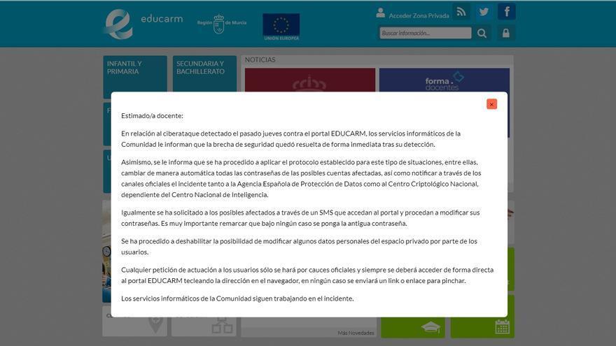 El cibertaque en el portal de Educarm afectó a las cuentas de todo el personal educativo de la Región