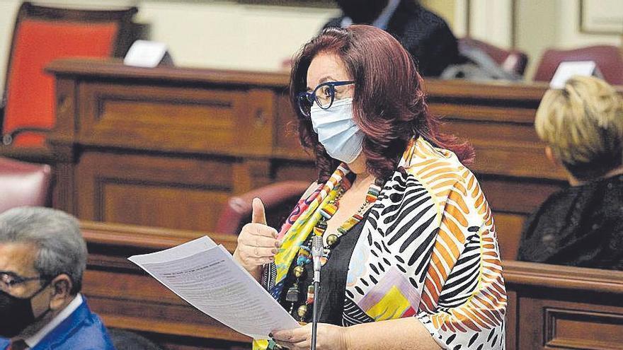 La consejera de Educación y Cultura, Manuela de Armas, en el pleno de ayer.