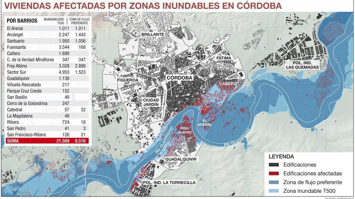 Casi un tercio de los edificios de Córdoba está en zona inundable