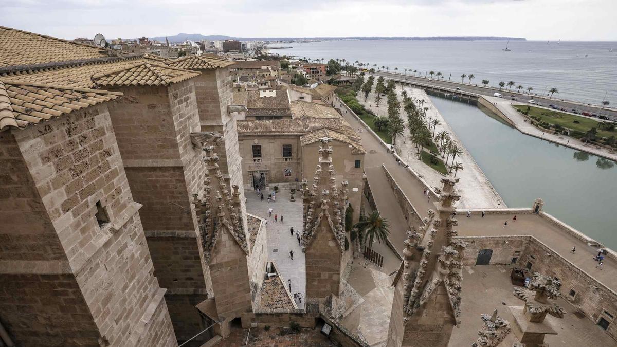 Las vistas espectaculares desde las terrazas de la Seu  con la conexión entre el puerto, el Parc de la Mar, el paseo marítimo y la ciudad.