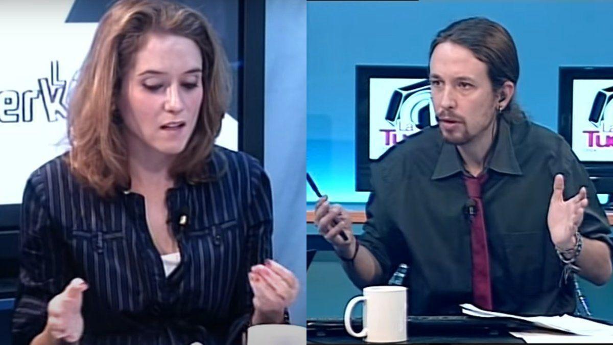 Isabel Díaz Ayuso y Pablo Iglesias, en 2012.