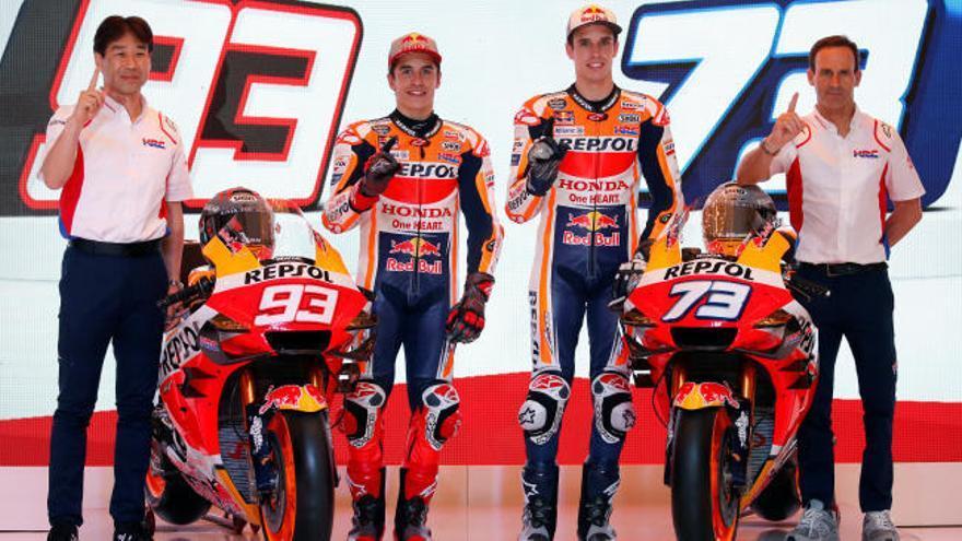 Marc y Álex Márquez presentan la nueva Honda de MotoGP