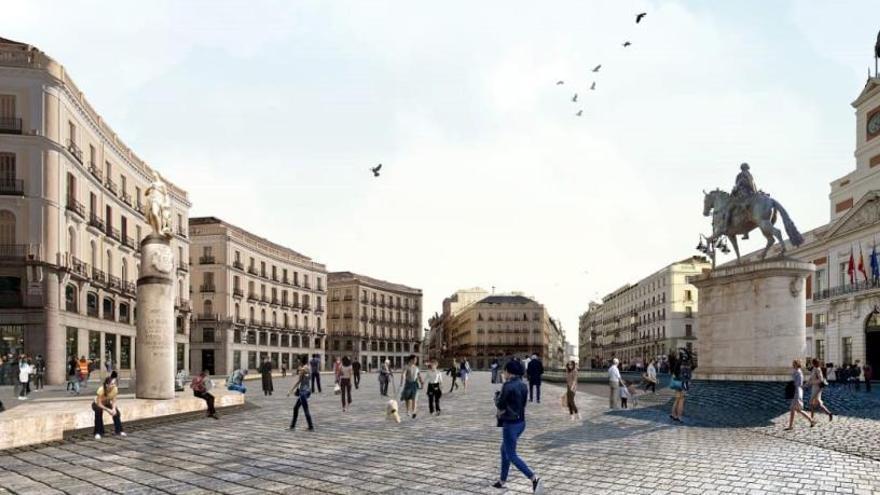 Almeida recupera un proyecto de 2014 para peatonalizar la Puerta del Sol