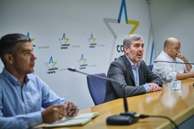CC-PNC presenta un paquete de propuestas sanitarias para la recuperación turística de Canarias. Fernando Clavijo, Narvay Quintero y José Díaz Flores    01/06/2020   Fotógrafo: Andrés Gutiérrez Taberne
