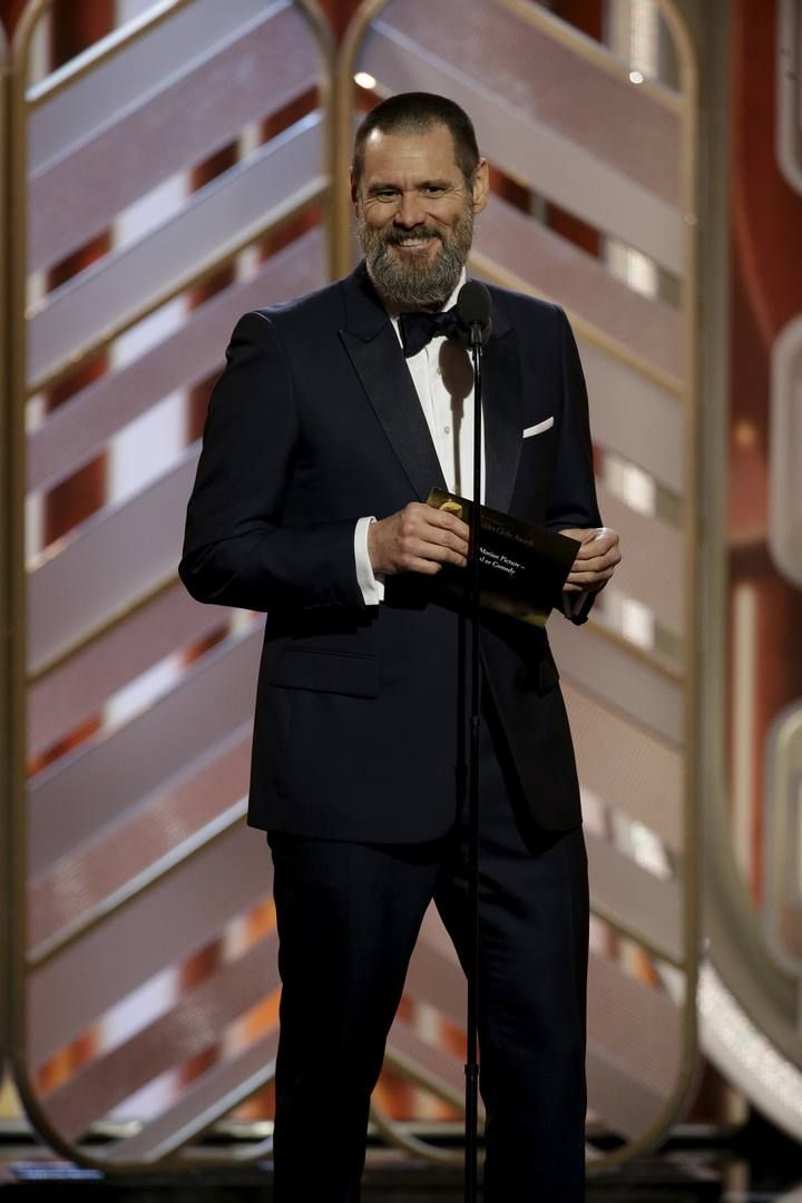 Handout photo of Jim Carrey presenting at the 73rd Golden Globe Awards in Beverly Hills