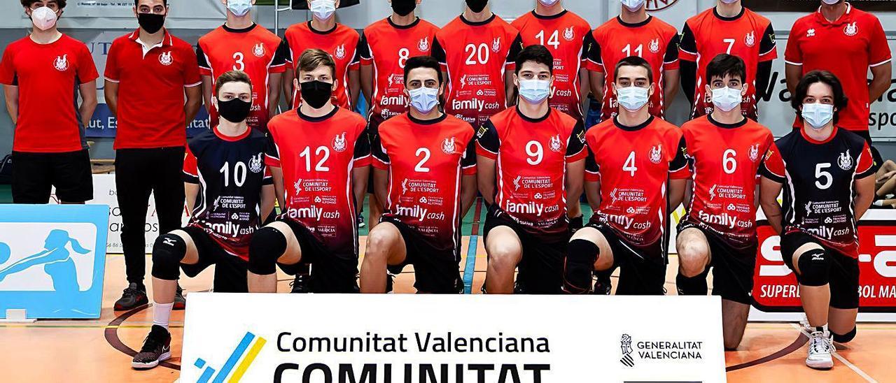 El Juvenil masculino del Xàtiva Voleibol, que disputará el campeonato nacional en Galicia. | CLUB VOLEIBOL XÀTIVA