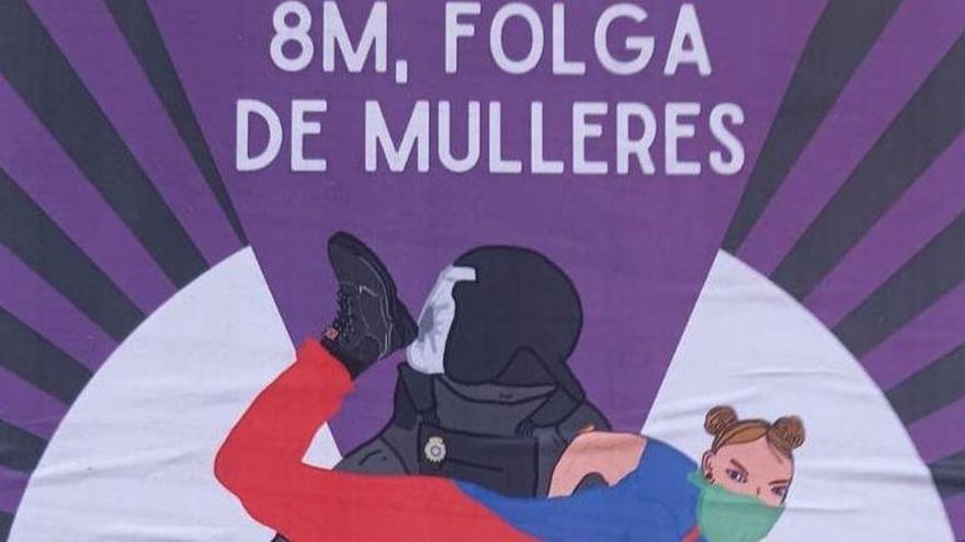 La polémica del 'taconazo': el cartel del 8M que crispa a la policía