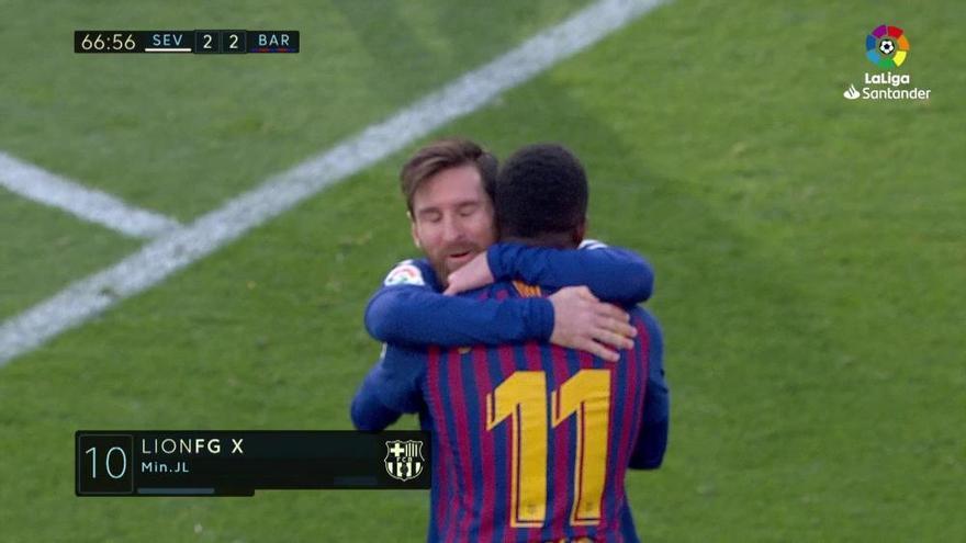Messi se basta ante el Sevilla y da media Liga al Barcelona