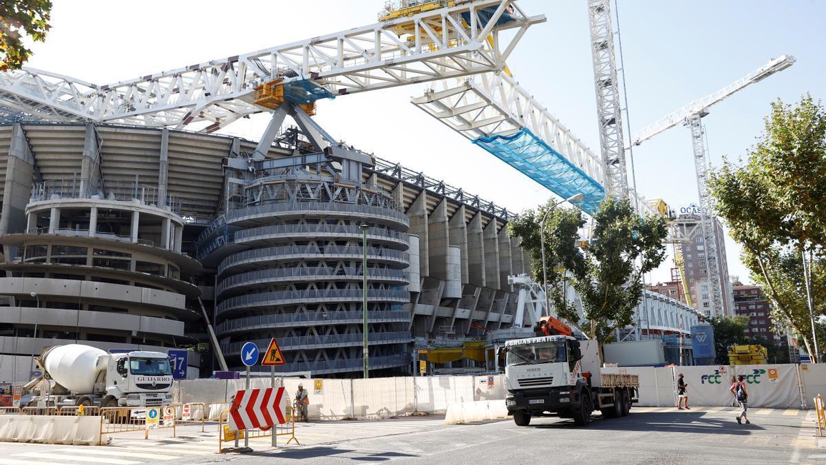 Estadio Santiago Bernabéu, en obras de remodelación.