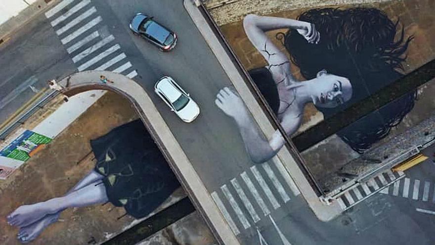 """""""Atrapada en el tiempo"""", el gran mural que emerge del río Alberca en Ondara"""