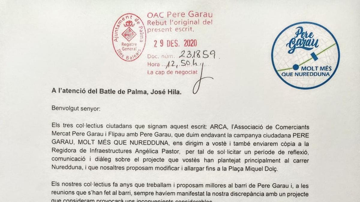 Carta enviada al alcalde.
