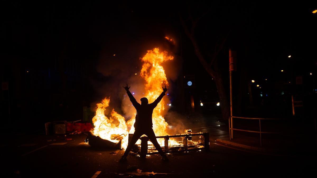 Disturbios de este jueves en Barcelona.
