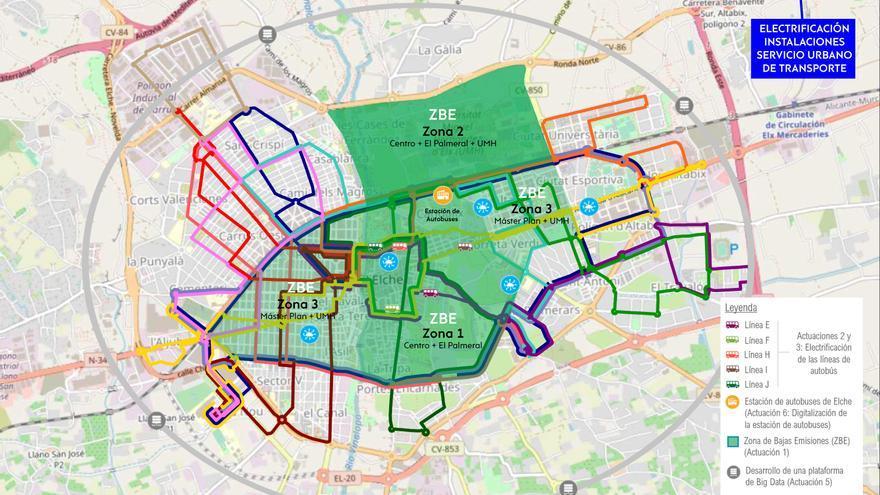 Elche restringirá el uso de vehículos sobre una superficie de 536 hectáreas del centro, El Pla, Altabix y El Raval en 2023