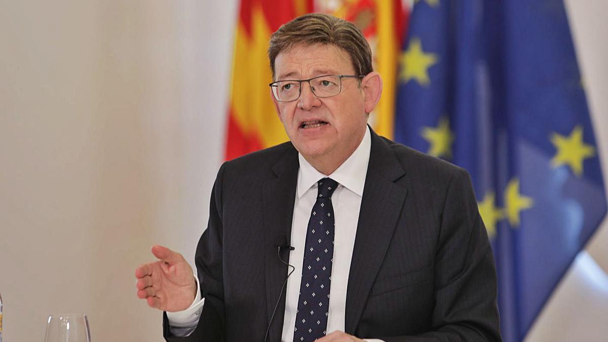 El 'president' de la Generalitat, Ximo Puig, interviene frente al Comité de las Regiones, ayer.  | PRESIDENCIA GVA