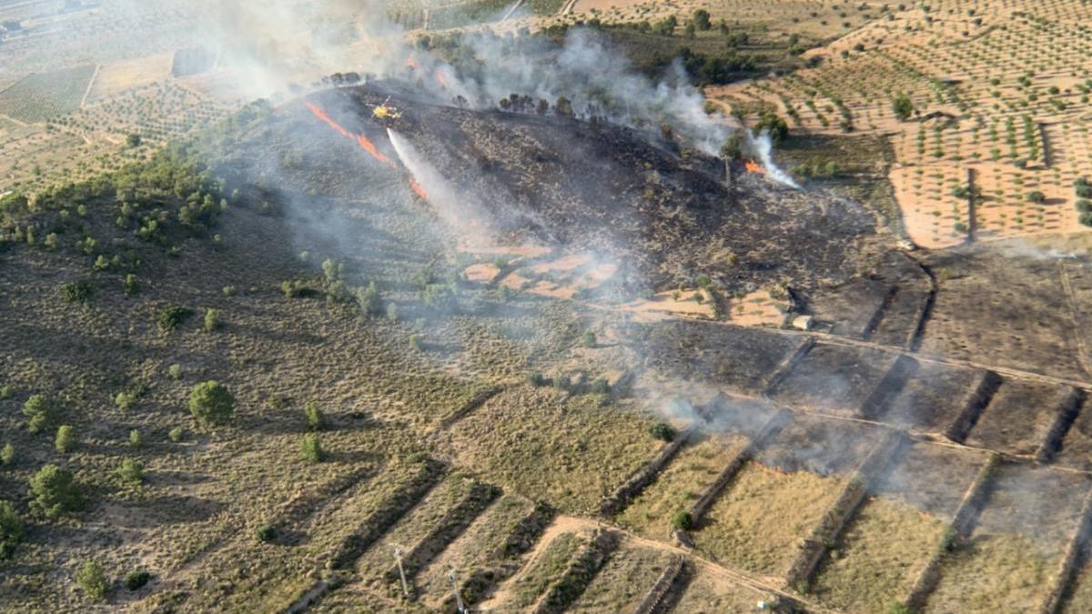 Cincuenta efectivos trabajan en un incendio forestal en Abanilla
