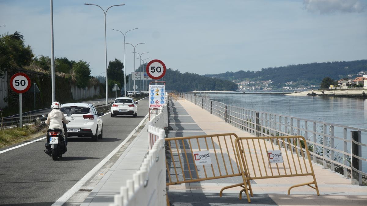 Senda litoral entre Pontevedra y Marín cerrada por obras